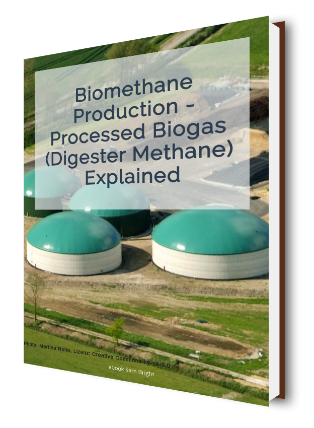 Image shows Biomethane Production ebook cover in 3D.