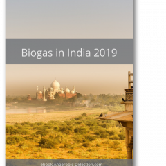 Image is the cover of the ebook Biogas in India 2019.