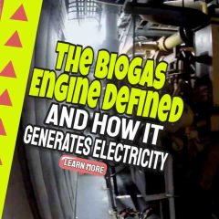 "Image text: ""Biogas Engine Defined and How it Makes Electricity""."