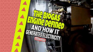 """Image text: """"Biogas Engine Defined and How it Makes Electricity""""."""