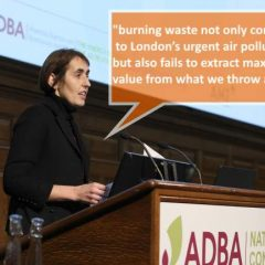 Image shows Charlotte Morton talking about incineration disadvantages.