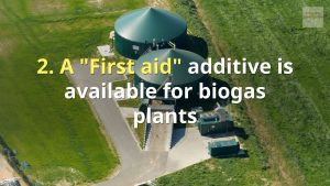 Image which shows: First Aid Additive for biogas plants.