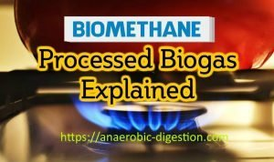Image features the name of the article on Biomethane Production or processed biogas upgraded.