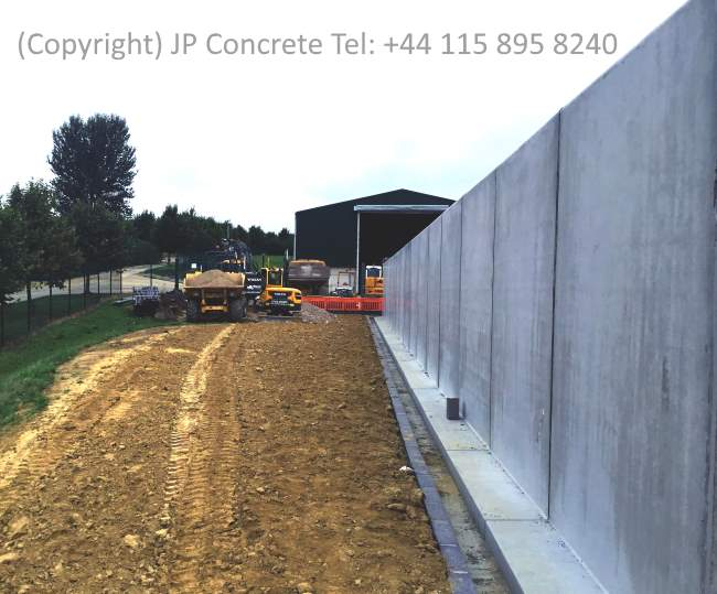 Image shows vertical precast concrete silage clamp (pit) walls.