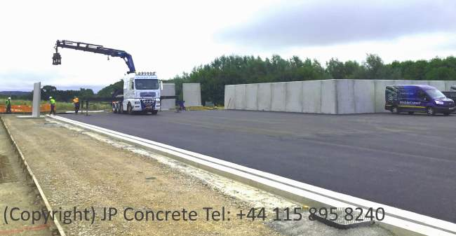Image shows the JP Concrete silage clamp precast concrete - wall view.
