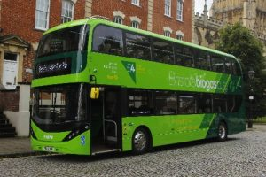One of the 10 uses of biogas is to fuel biogas buses, as shown here.