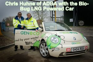 Image shows Chris Huhne with the Bio-Bug biomethane/ LNG powered car.