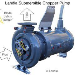 Image of a Landia Chopper Pump showing how knife debris built-up.