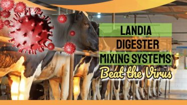 """Landia Biogas Mixing system Image with the text: """"How Landia GasMix orders beat the virus."""""""