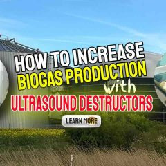 """Image text: """"How to increase biogas production with ultrasound destructors""""."""